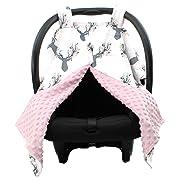 Dear Baby Gear Deluxe Carseat Canopy, Custom Minky Print Girl Antler Flowers, Pink Minky Dot