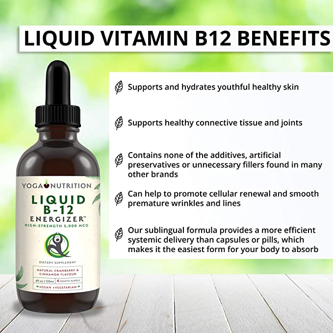 Vitamina Líquida B12 Energizante. - ALTA RESISTENCIA 5,000 MCG - Metilcobalamina SIN Conservantes Artificiales, Sublingual (Suministro para 4 meses)