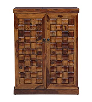 Made Wood Sheesham wood Wine Cabinet in Provincial Teak Finish (Brown)