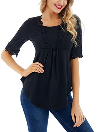 a439f8ee7dec2 Uniboutique Womens Half Sleeve Scoop Neck Loose Casual Swing Tunic Top Shirt  Blouse Black S
