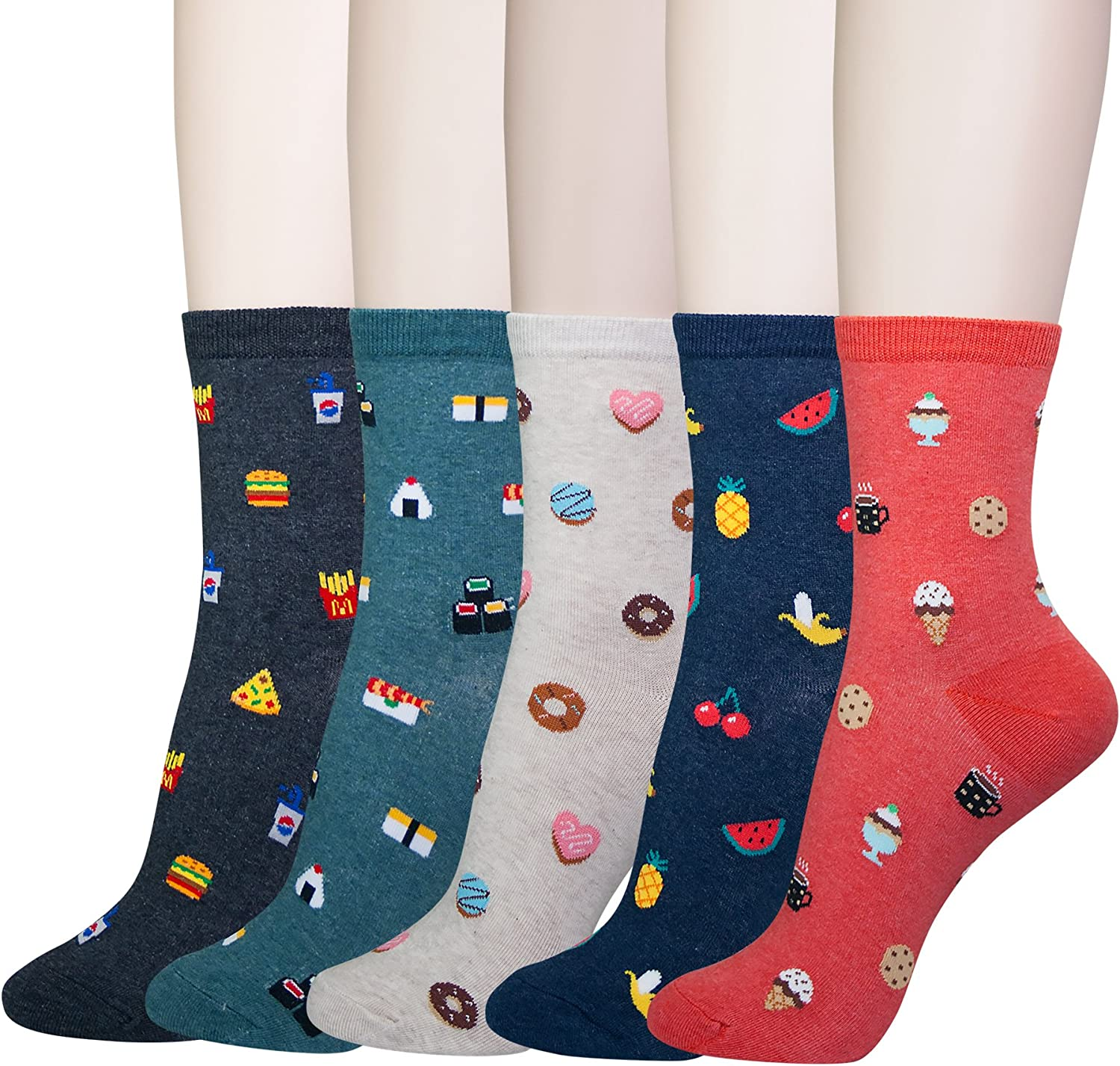 YourFeet Women's 5 Pairs Cotton Fun Fruits Food Designed Novelty Crew Socks Gifts Size 6-9