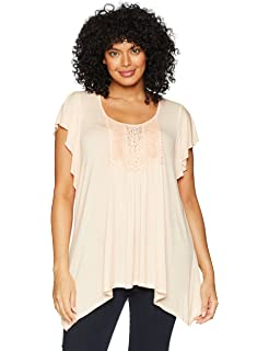 a4113695b96675 OneWorld Women s Plus-Size 3 4 Flared Sleeve Solid Knit Top with ...