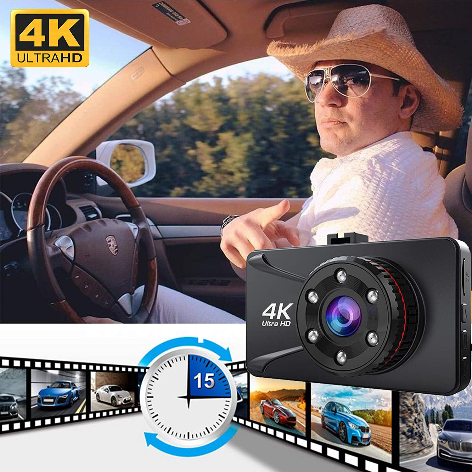 WDR Aszekok 3.0 Inch LCD Screen 4K Ultra Dash Cam,150/°Wide Angle Camera Recorder with G-Sensor Loop Recording,Parking Monitor Infrared Light and Starlight Night Vision Free 32G SD Card