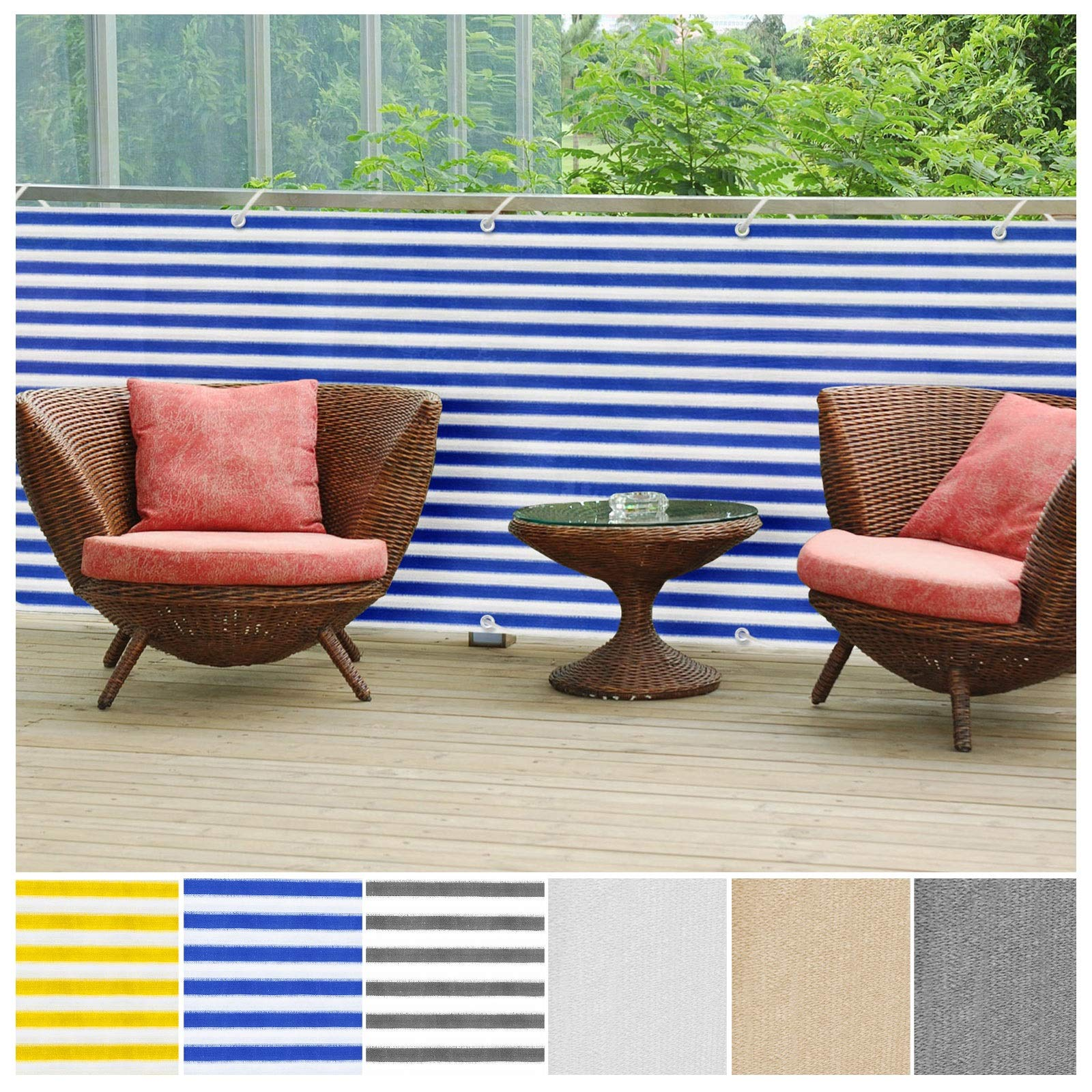 casa pura Balcony Privacy Screening Cover | Screen Cover for UV Protection - 3' x 16'4'' - Blue/White | Multiple Colors Available by casa pura