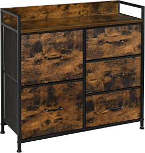SONGMICS Drawer Dresser, Chest of Drawers, Closet Storage Dresser, 5 Fabric Drawers and Metal Frame with Handles, Rustic Brown and Black ULTS105B01