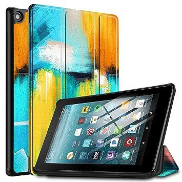 IVSO Funda Carcasa para Nuevo Tablet Fire 7 2019, Slim PU Protectora Carcasa Cover para Nuevo Tablet Fire 7 (9.ª generación - Modelo de 2019), Rainbow