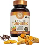Organic Turmeric Capsules PLUS 120caps with black pepper and ginger - Australian Owned & Manufactured whole food anti-inflammatory ACO certified Organic