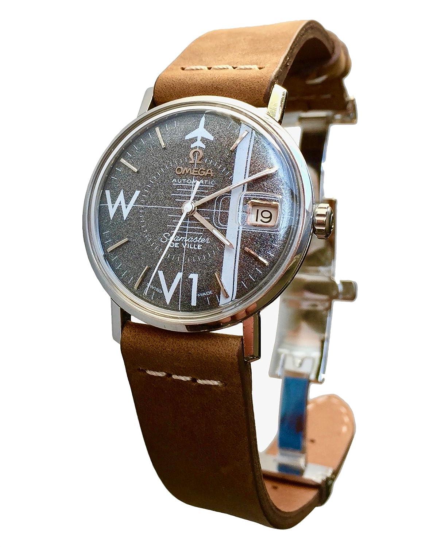 Vintage 1965 Omega Seamaster de Ville reloj (esfera gris) con piel banda: Zweisimmen Hammermill Vintage Co.: Amazon.es: Relojes