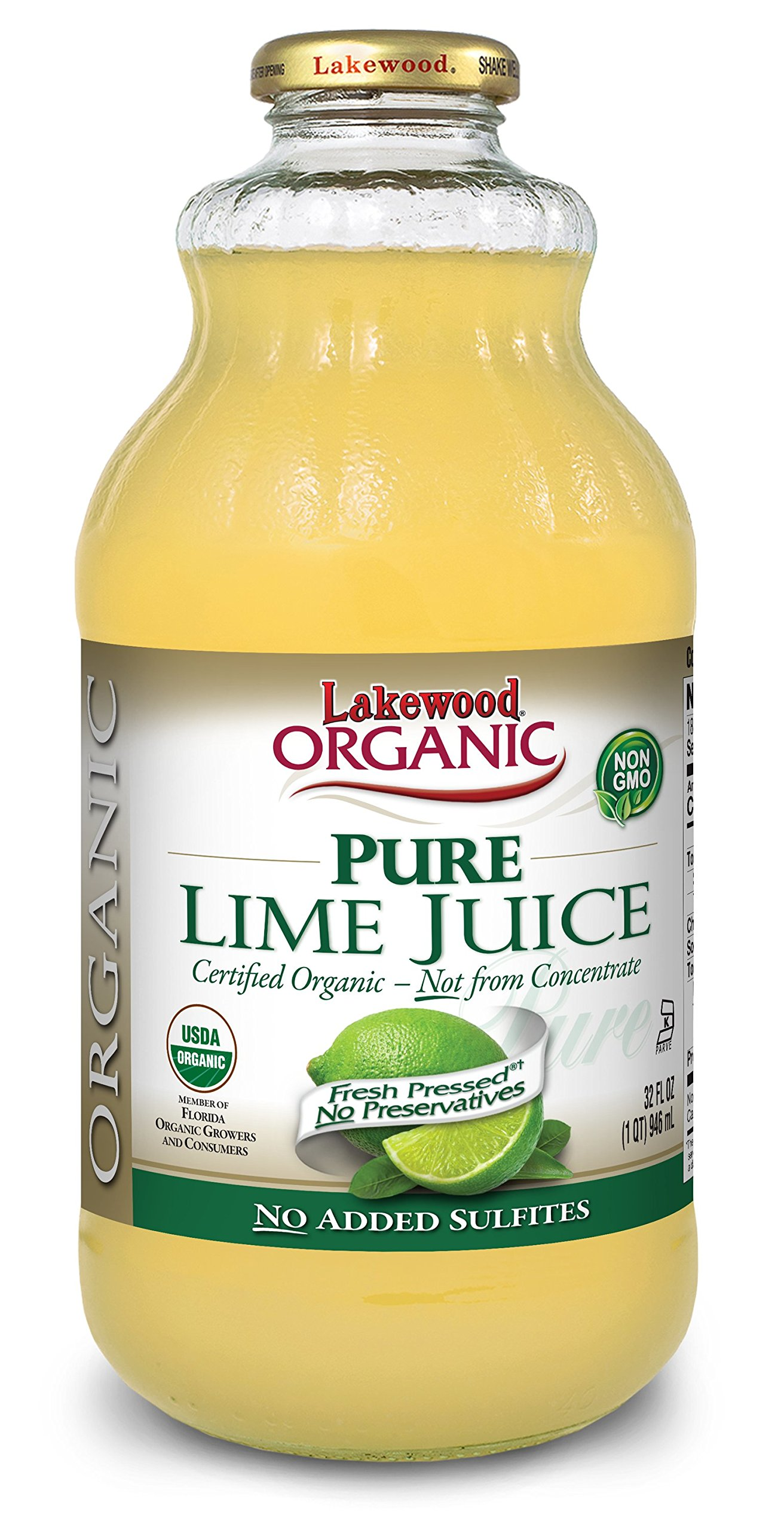 Lakewood Organic Juice, Pure Lime, 32 Ounce (Pack of 6)