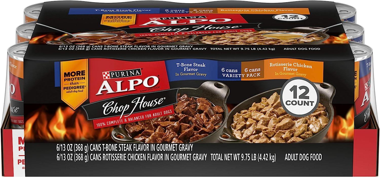 Purina ALPO Gravy Wet Dog Food Variety Pack, Chop House T-Bone Steak & Rotisserie Chicken Flavor - (12) 13 oz. Cans, ALPO CHPHGRMTGRV CP