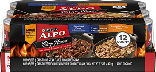 Purina ALPO Gravy Wet Dog Food Variety Pack, Chop House T-Bone Steak Rotisserie Chicken Flavor – 12 13 oz. Cans
