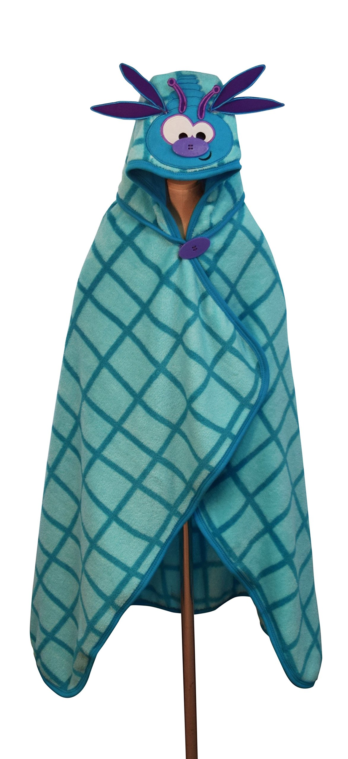 Goo-Goo Baby Button Nose Kid's Hooded Blanket and Towel, Warm Soft Fleece Character Blanket, Dragonfly, 0-10 Years