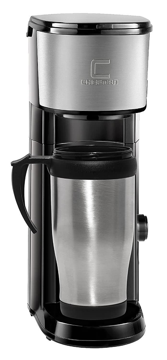 Chefman Coffee Maker K-Cup VersaBrew Brewer with included BONUS TRAVEL MUG and FREE FILTER For Use With Coffee Grounds - Rapid Boil - Small Footprint Single Serve - RJ14-SKG-M Chefman Coffee Maker K-Cup VersaBrew Brewer with included BONUS TRAVEL MUG and F