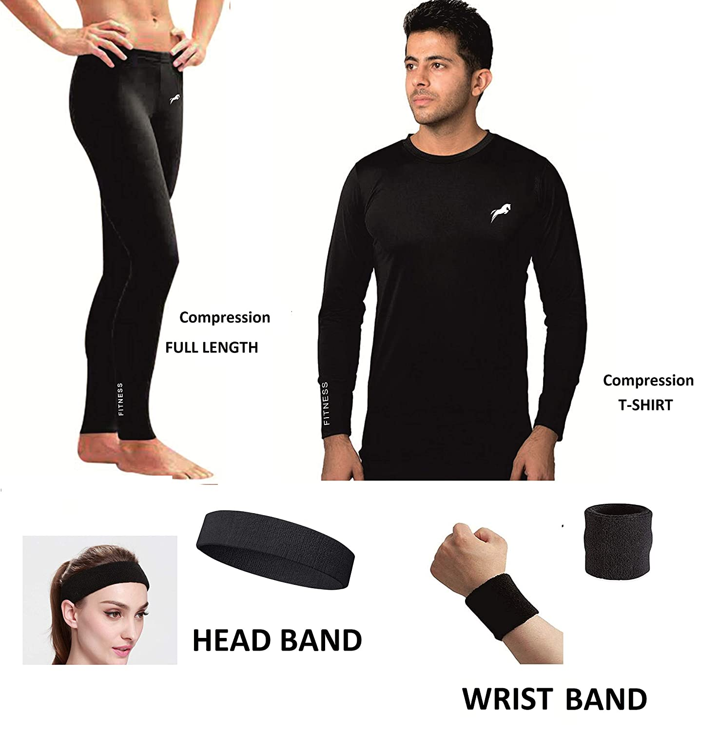 2ff72714af10 Rider Full Length Compression LOWER With Full Sleeve T-SHIRT 100% COTTON  WRIST BAND & HEAD BAND Free Multi Sports Exercise/Gym/Running/Yoga/Other  Outdoor ...