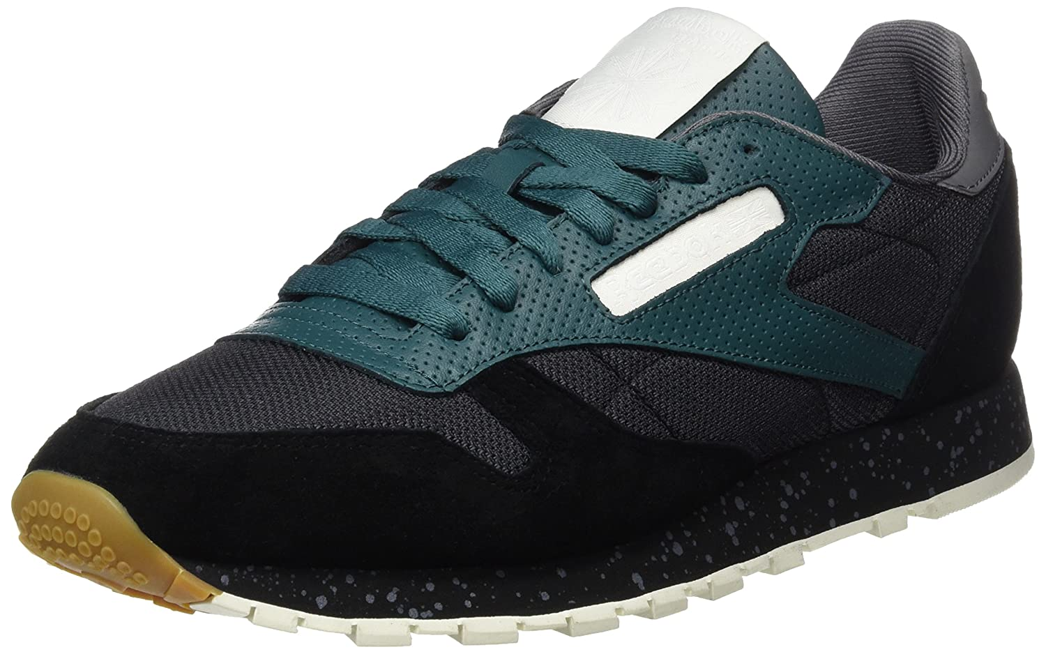 Reebok Herren Classic Leather SM Sneaker  45.5 EU|Schwarz (Black/Washed Jade/Alloy/Chalk/White)