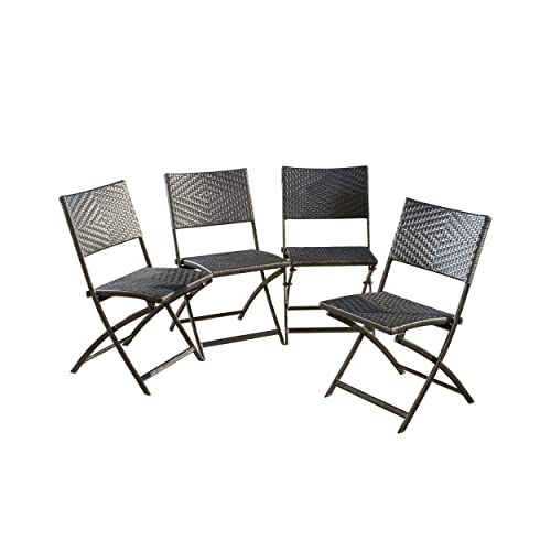 Christopher Knight Home 296423 Set of 4 Jason Outdoor Brown Wicker Folding Chair