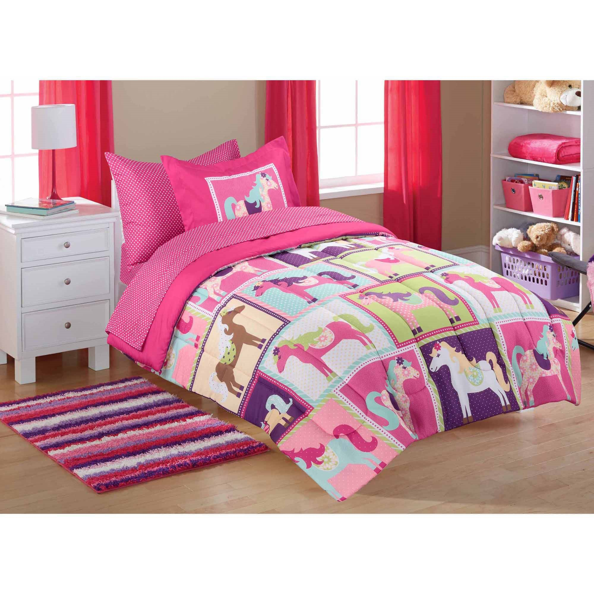 7 Piece Bed In Bag Full Rainbow Pink Assorted Unicorn Dream Bedding Squares Purple Magical Horses All Over Polka Dots Stripes Flowers Kids Girls Believe Dancing Mythical Enchanted Pegasus Polyester