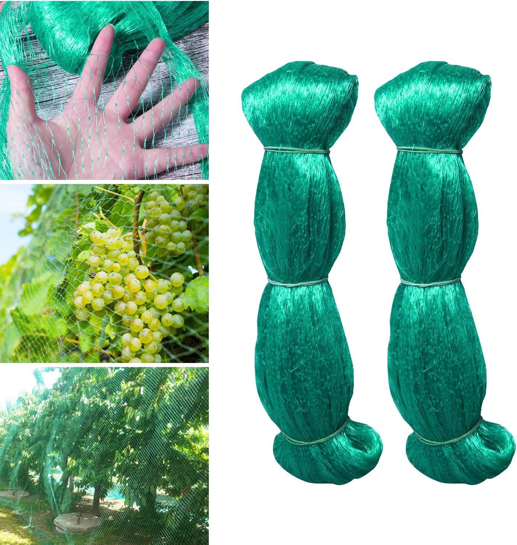 Hywean 2 x Red para Pájaros, 2m x 5m Red para Estanque Multiusos Malla de Protección de PE para Frutas, Plantas, Verduras, Jardín (Verde, 1,5x1,5 cm Agujeros)