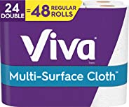 Viva Multi-Surface Choose-A-Sheet Paper Towels, Kitchen Paper Towels, White, 2 Packs of 12 Double Rolls (24 Double Rolls Tota