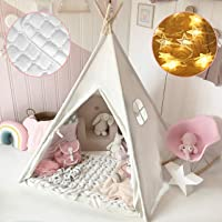 Kids Teepee Tent with Mat & Light String& Carry Case- Kids Foldable Play Tent for Indoor Outdoor, Raw White Canvas…