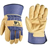 Heavy Duty Work Gloves with Leather Palm, Large (Wells Lamont 3300L), Blue/Tan