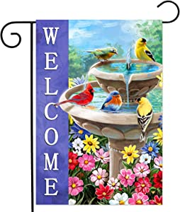 YMYIELD Spring Summer Welcome Garden Flag Double Sided Vertical Farmhouse Flags Colorful flowers and birds Cardinal Yard Signs Outdoor Decor 12x18 Inch