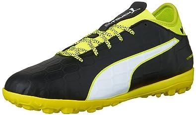 PUMA Men s Evotouch 3 tt Soccer Shoe Black White Safety Yellow Grey 7.5 575f6ed51
