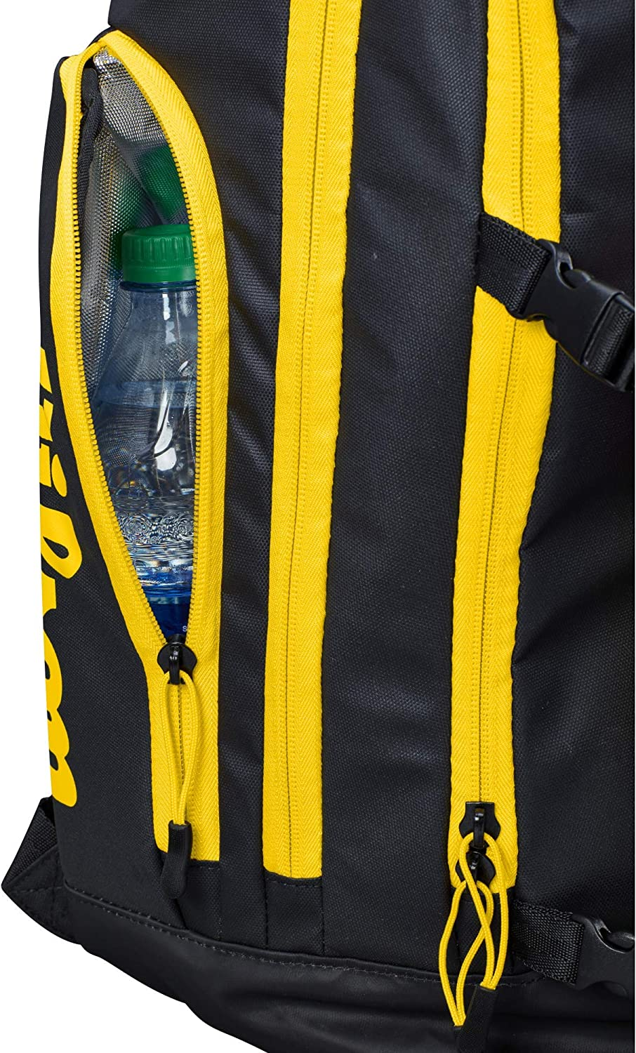 AVP WTH121190 Wilson Beach Volleyball Backpack Black//Yellow with Ball Holder and Cooling Compartment