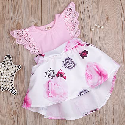 4fb8bd85dc5 ... HappyMA Infant Toddler Baby Girl Floral Dress Lace Ruffle Sleeve Outfit  Family Clothing (Pink