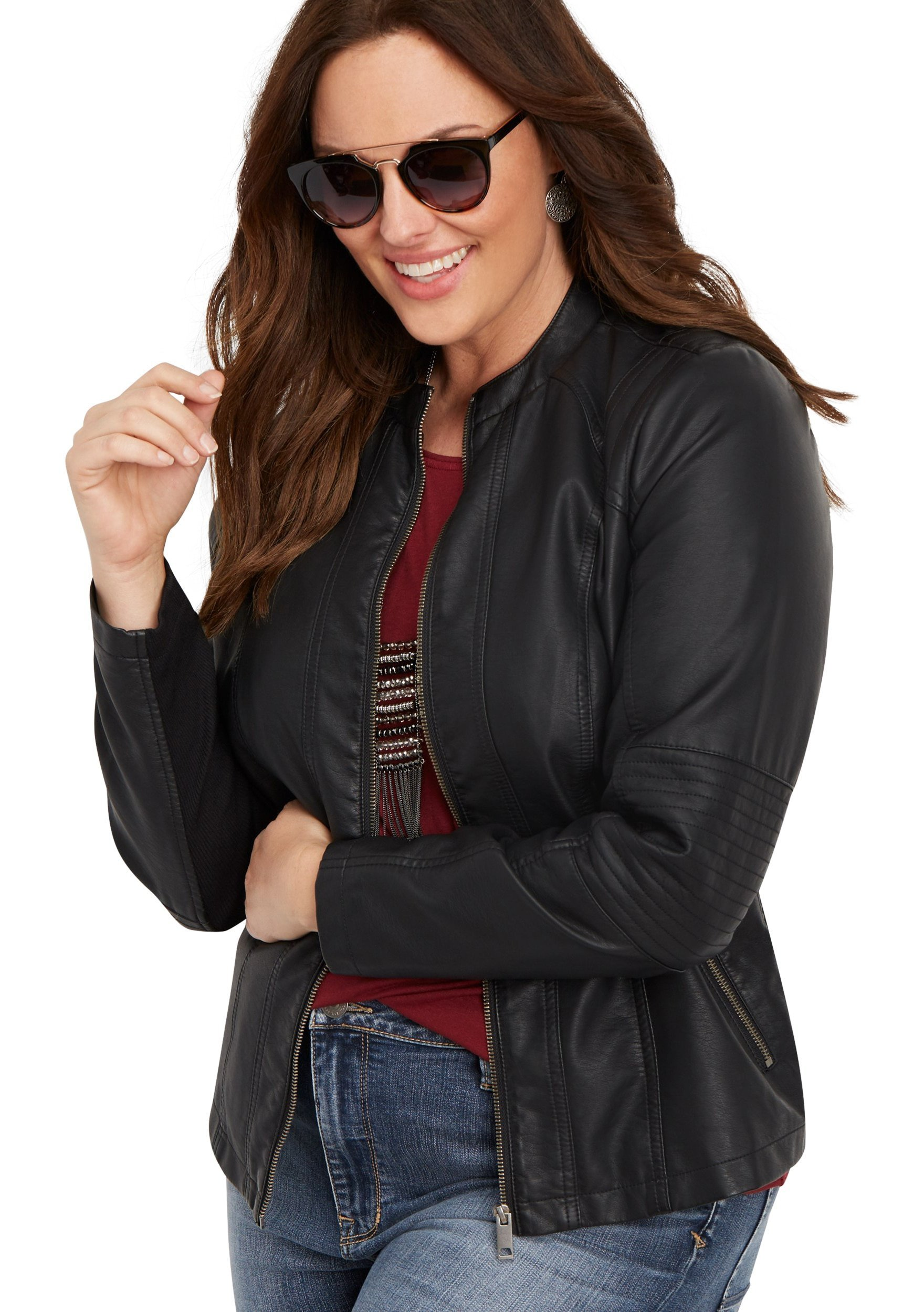 maurices Women's Plus Size Elbow Stitched Faux Leather Jacket 2 Black