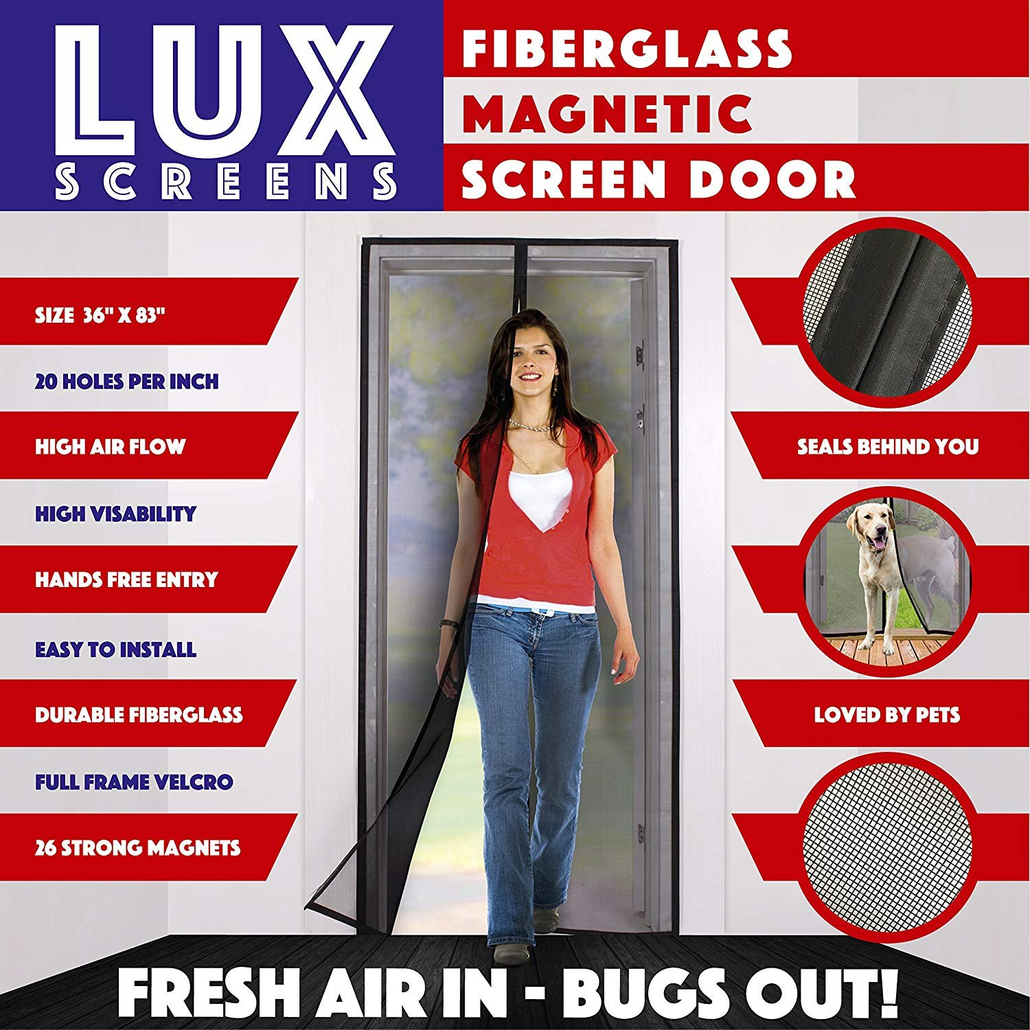 Magnetic Screen Door New 2017 Patent Pending Design Full Frame Velcro Fiberglass Mesh Not Polyester This Instant Retractable Bug Screen Opens and Closes like Magic it's the Last Screen You'll Need