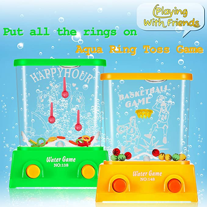 2 Pieces Water Handheld Game Aqua Mini Water Ring Game Ring Toss And Basketball