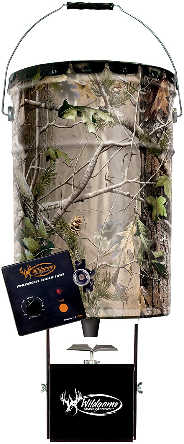 Wildgame Innovations Pail Feeder, Real Tree Camo Steel, 50-Lbs.