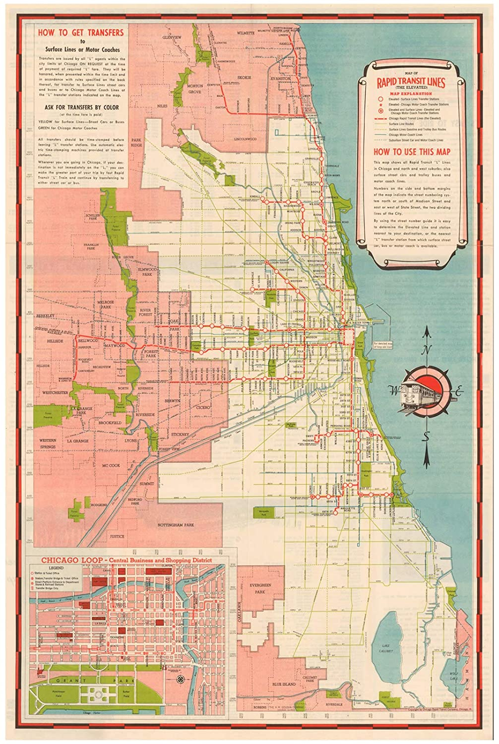 Amazon.com: Chicago Transit Maps, Chicago Rapid Transit Lines 1941 on