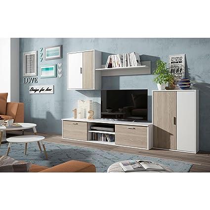 Mueble salón TV completo Color madera y blanco Muebles ...