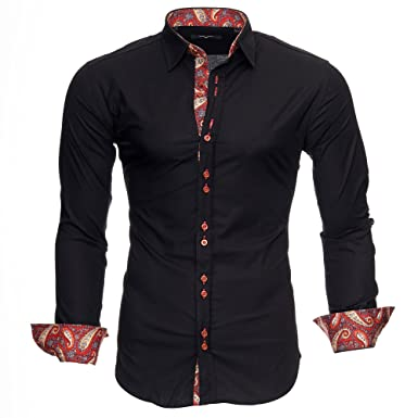 2c2935df1b09 Kayhan Men´s Long Sleeve Casual Shirt Slim fit Easy Iron Modell -Royal  Paisley  Amazon.co.uk  Clothing