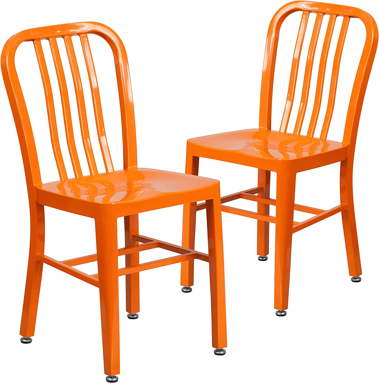 Flash Furniture Commercial Grade 2 Pack Orange Metal Indoor-Outdoor Chair