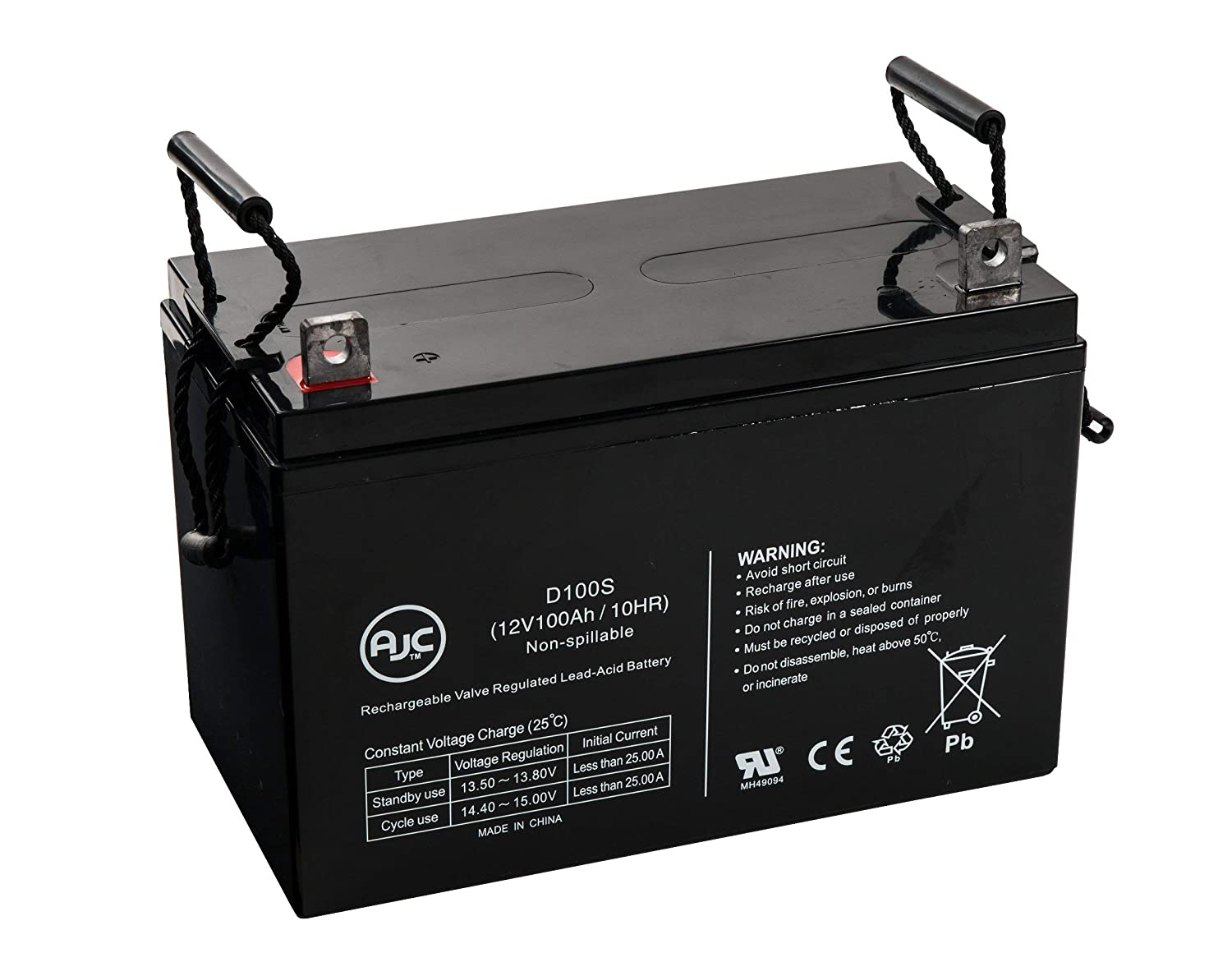 Universal Power UB121000 45978 12V 100Ah Sealed Lead Acid Battery - This is an AJC Brand Replacement AJC Battery