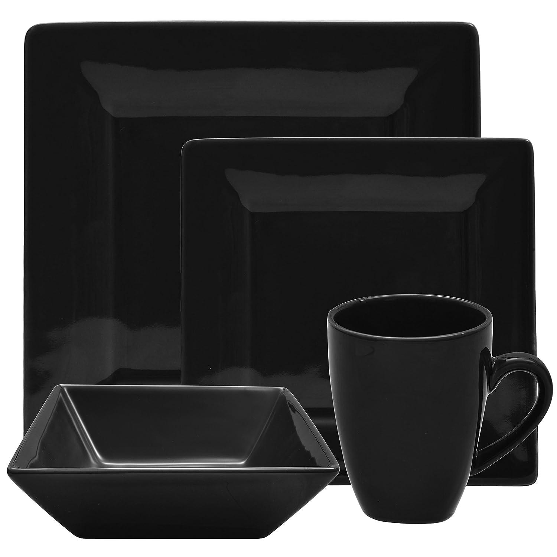 10 Strawberry Street Square 16 Piece Dinnerware Set, Black