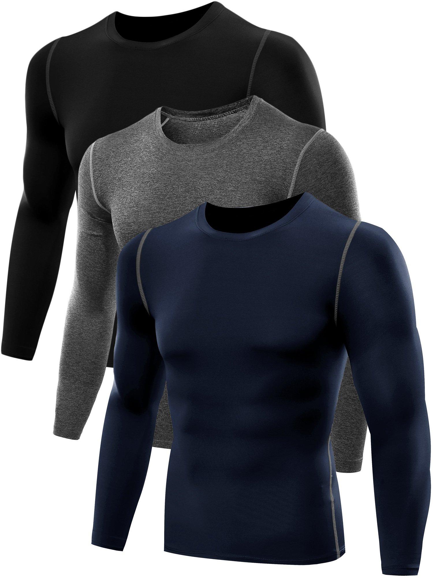 Neleus Men's 3 Pack Athletic Compression Long Sleeve Shirt,008,Black,Grey,Navy Blue,US S,EU M