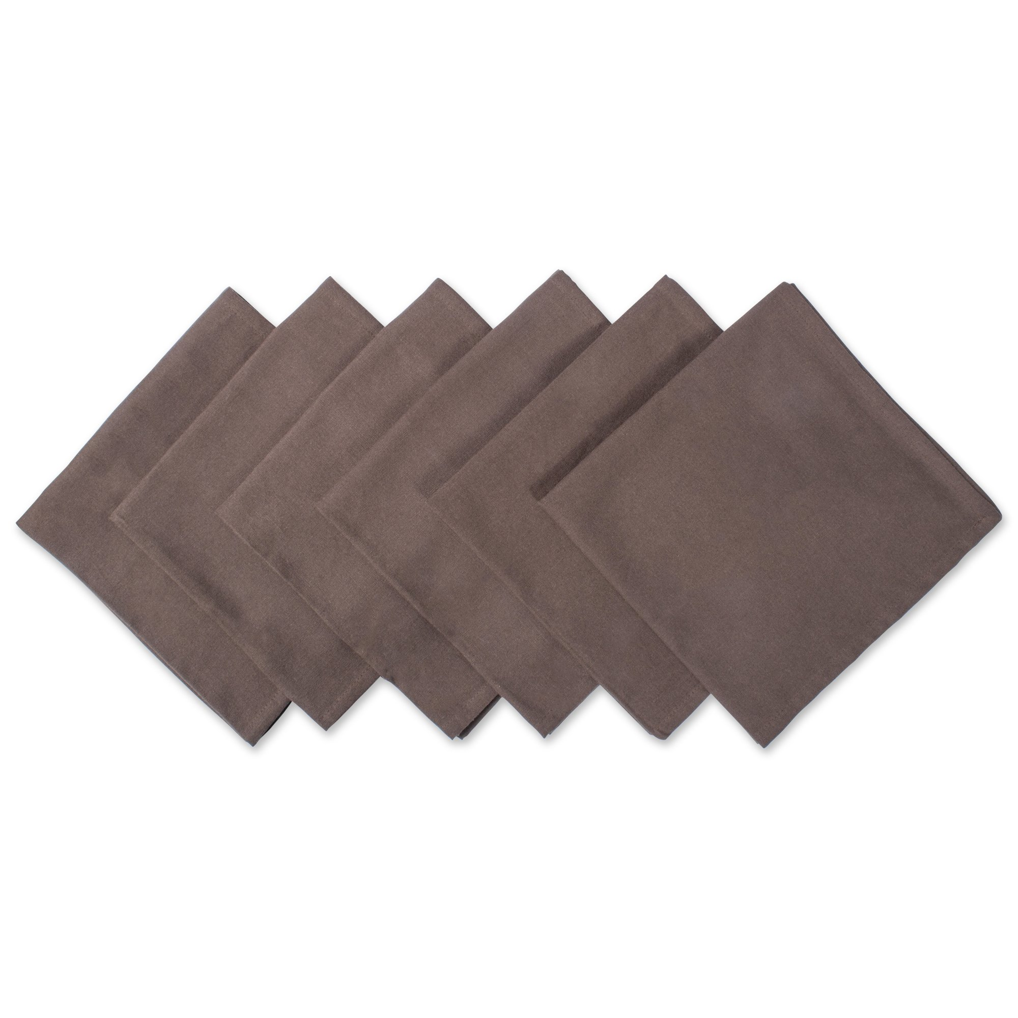 DII 100% Cotton Cloth Napkins, Oversized 20x20'' Dinner Napkins, For Basic Everyday Use, Banquets, Weddings, Events, or Family Gatherings - Set of 6, Dark Brown