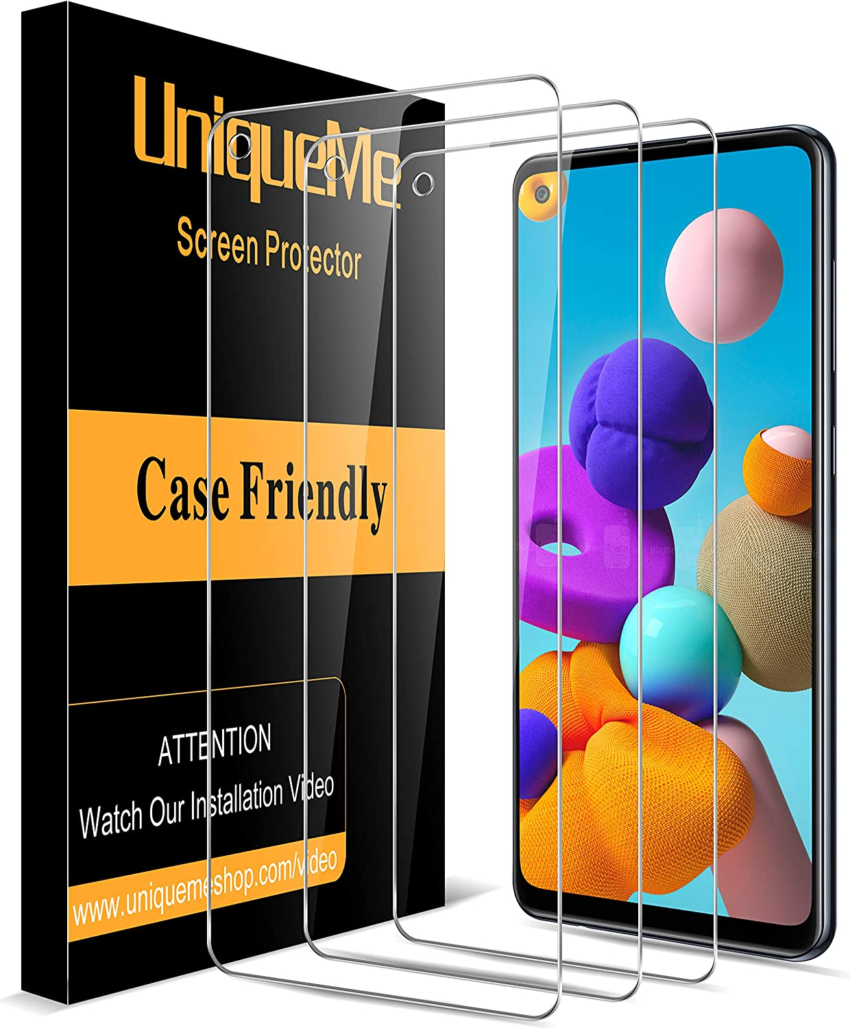 [3 Pack] UniqueMe Screen Protector for Samsung Galaxy A21 Tempered Glass, 9H Hardness [Case Friendly] Bubble Free-Clear HD