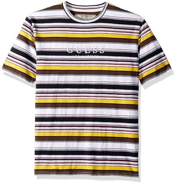 2a220abe1c GUESS Men's Short Sleeve Ashton Crew Neck Shirt Stripe Navy Multi, ...