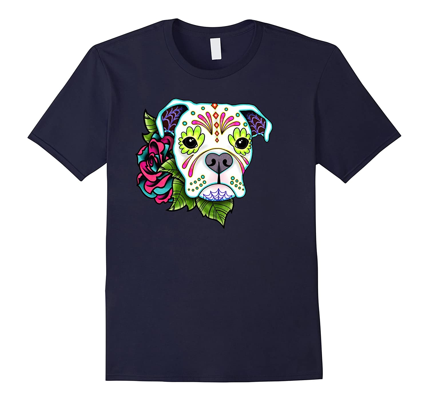 Boxer in White - Day of the Dead Sugar Skull Dog-TH