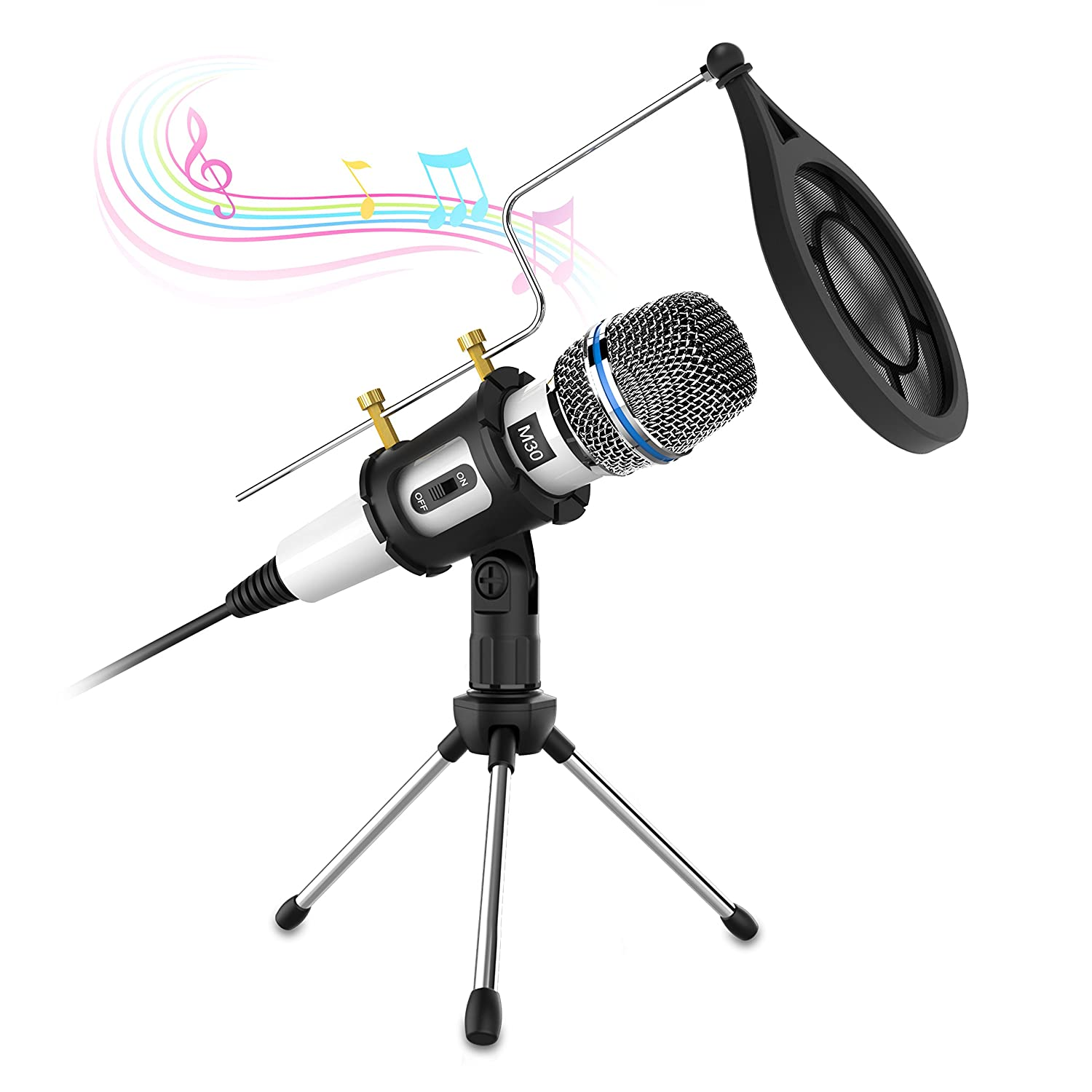 Computer Condenser Microphone, Valoin 3.5mm Plug & Play Recording Microphone for Computer Laptop Desktop Podcasting Interview Online Chatting and More (Black)