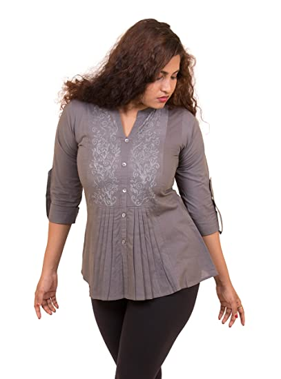 Marsini Shirt Top For Womens New Style Office Wear Grey Cotton Self  Embroidery Shirt Top For Women (kurti For Women Latest Design Party Wear  Available In ...