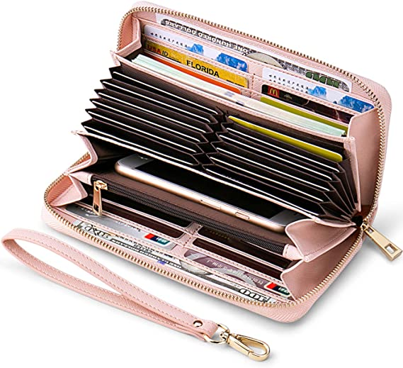 Womens Faux Leather Zip Around Wallet Clutch Large Travel Purse Wristlet