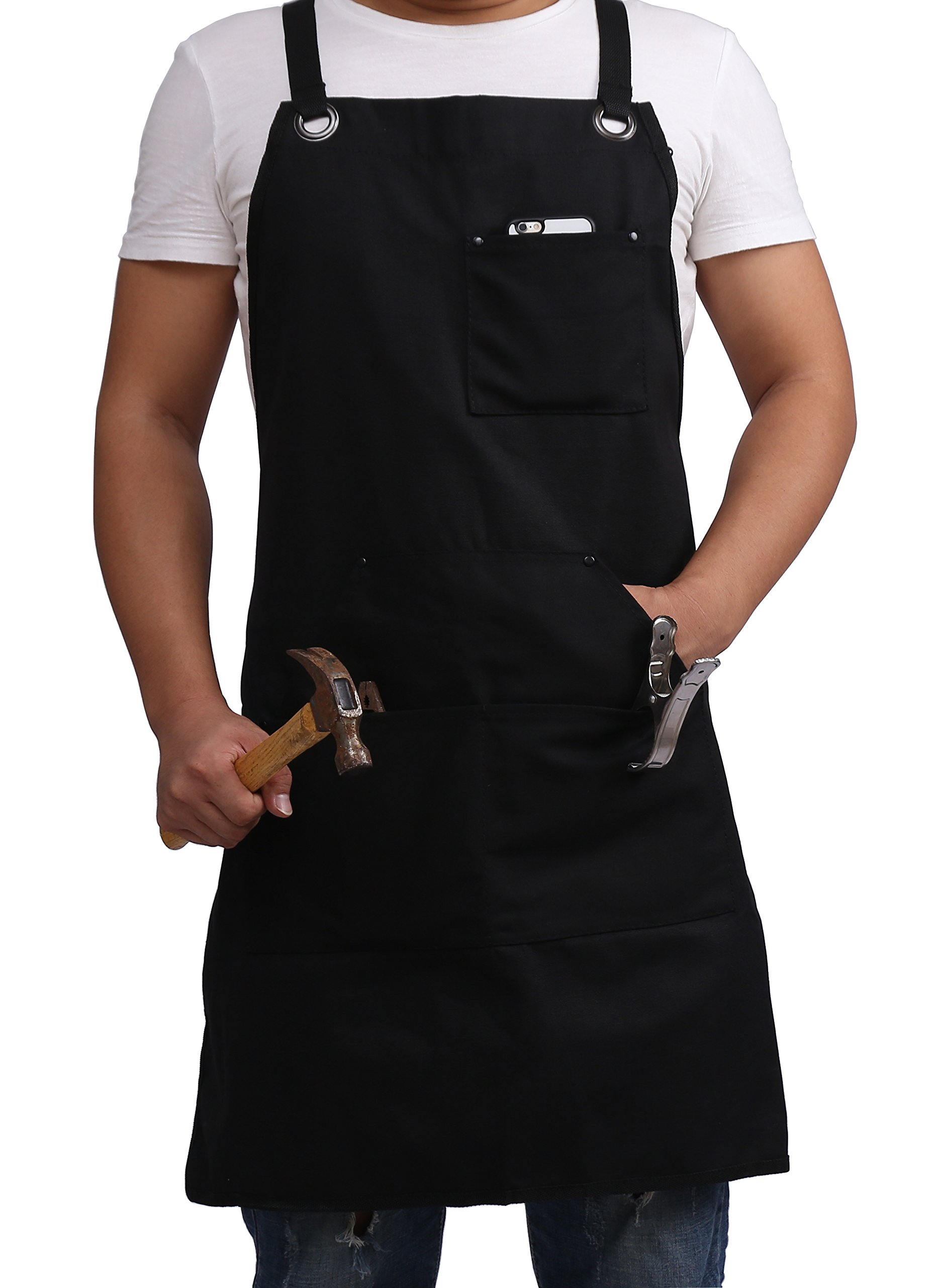 Black apron work Heavy Duty Waxed Canvas Work Apron, Heavy Duty Waxed Work Tool Apron Utility Apron with Pockets, work aprons for women and Men(Black) by Yiwu Bode Electronic Co., Ltd