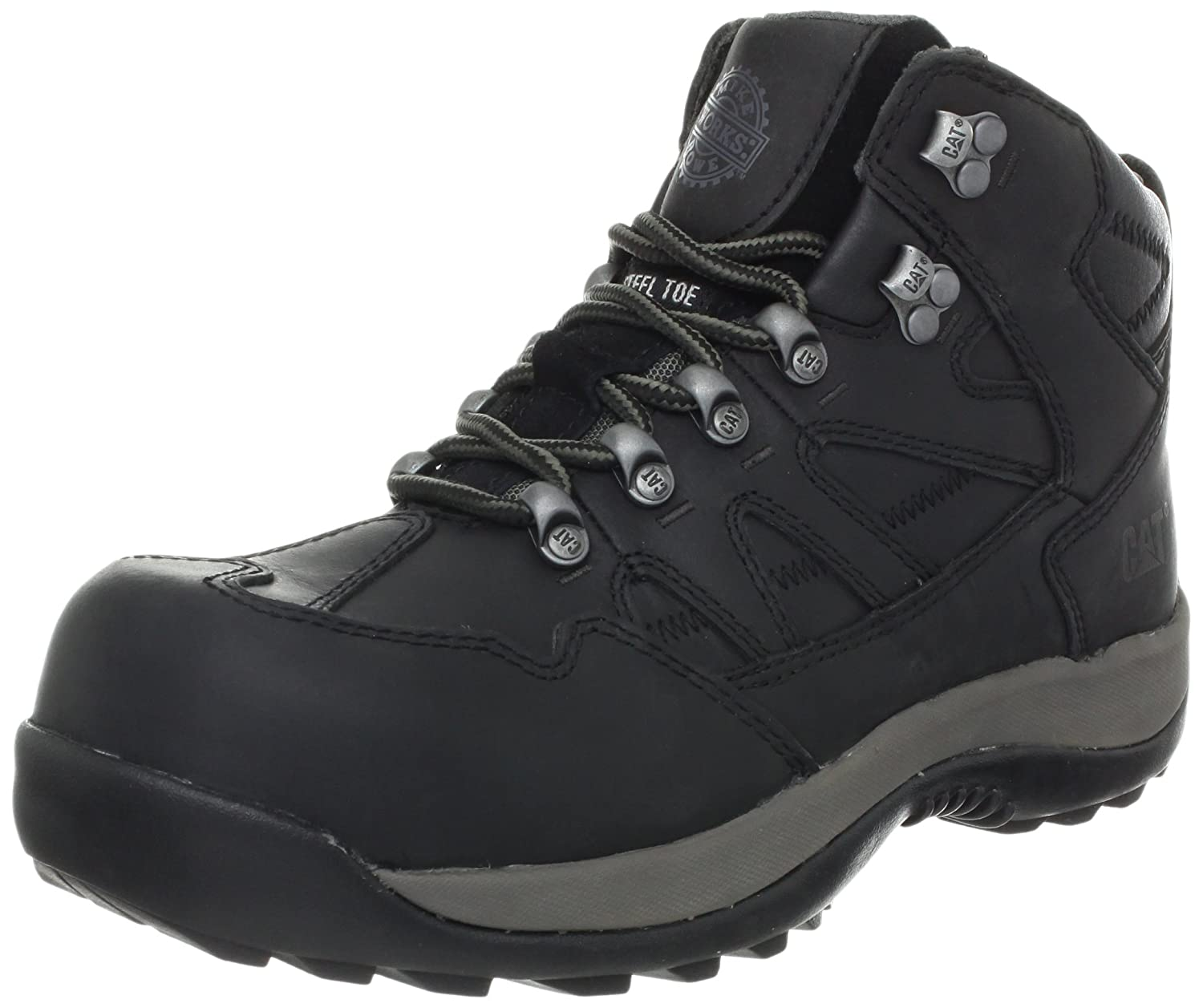 Caterpillar Men 's鉄筋Mr Steel Toe Work Boot B007H3VXTA 11.5 D(M) US|Black/Pepper Black/Pepper 11.5 D(M) US