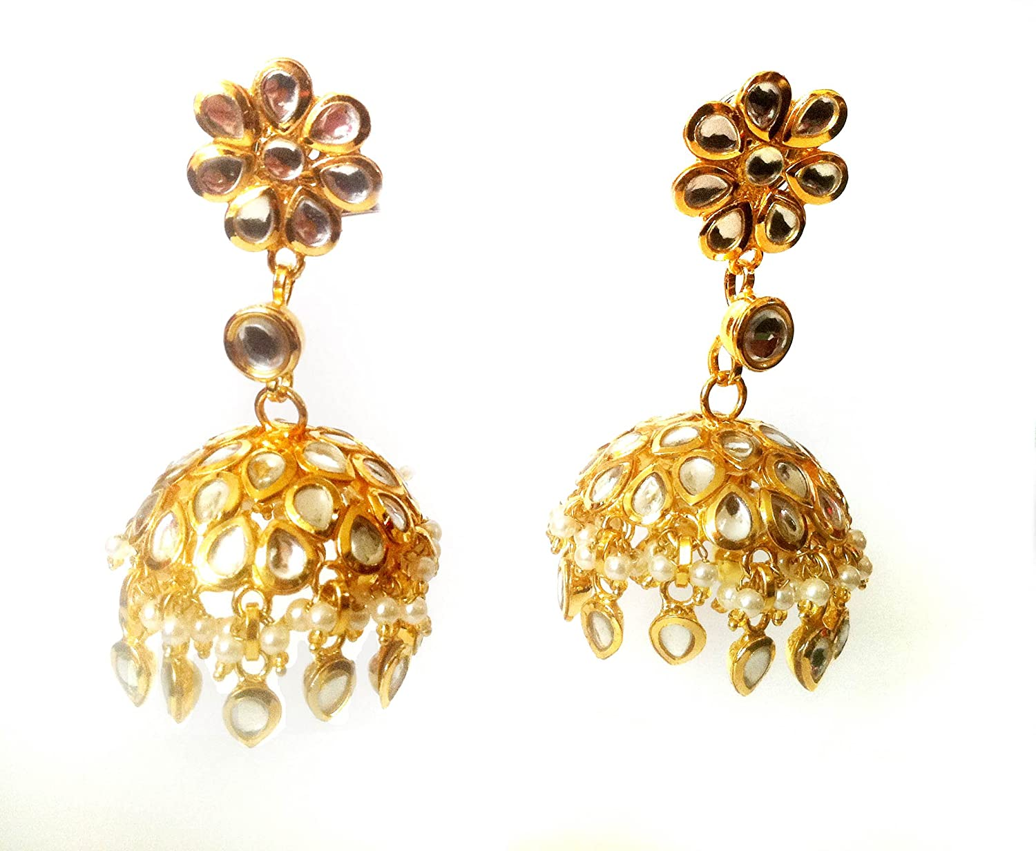 Amazon.com: GOLD & Pearl JHUMKA EARRINGS, Kundan Jhumkas, Large ...